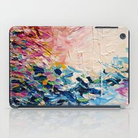 jazzberry iPad Cases featuring PARADISE DREAMING Colorful Pastel Abstract Art Painting Textural Pink Blue Tropical Brushstrokes by EbiEmporium