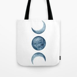 Blue Moon Phases Watercolor Tote Bag