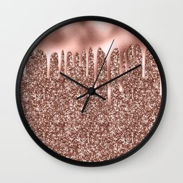 Rose Gold Drip & Sparkle Wall Clock