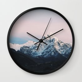 Blue & Pink Himalaya Mountains Wall Clock
