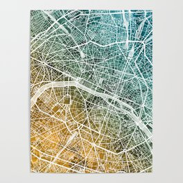 Paris France City Map Poster