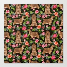 Cocker Spaniel hawaiian tropical print with dog breeds cocker spaniels Canvas Print