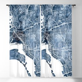 San Diego Map Navy Blue Watercolor by Zouzounio Art Blackout Curtain