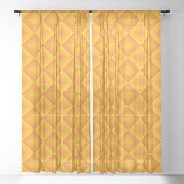 Orange diamond pattern 70's disco style Sheer Curtain