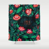 folk Shower Curtains featuring Folk by Plantus Marina