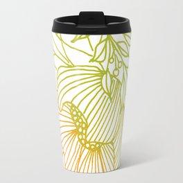 Tangerine and Olive Flowery Linocut Wreath Travel Mug