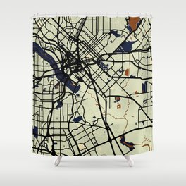 Dallas Street Map // Orange Theme Shower Curtain