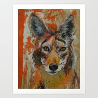 coyote Art Prints featuring Coyote by Ali Kirby