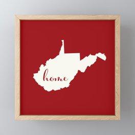 West Virginia is Home - White on Red Framed Mini Art Print
