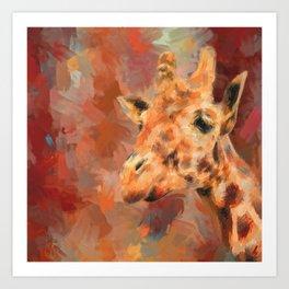 Long Necked Friend Giraffe Art Art Print