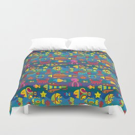 Stylize fantasy fishes under water Duvet Cover