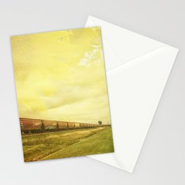 Freight Train And Sunflowers Double Exposure Stationery Cards