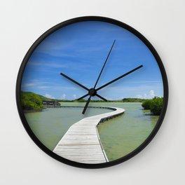 Road On Lake Wall Clock