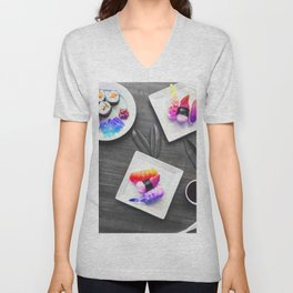 Rainbow Roll Selective Saturation Recolor Unisex V-Neck