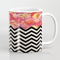 yetiland Mugs featuring Chevron Flora by Bianca Green