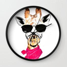 Giraffe with sunglasses Wall Clock