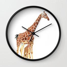 Giraffe Art - A Mother's Love - By Sharon Cummings Wall Clock