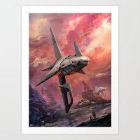 spaceship Art Prints featuring Spaceship by Kirkrew
