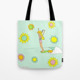 Surf Art Hang 10 Lady Slide Flower Power by Surfy Birdy Tote Bag