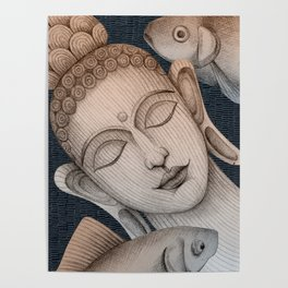 Sleeping Buddha with fish 2 Poster