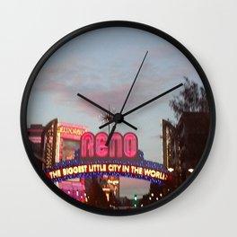 Downtown Reno at dusk Wall Clock