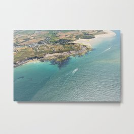 Aerial Views of the mouth of the River Camel, Padstow, Cornwall Metal Print