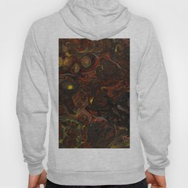 Fluid Art Acrylic Painting, Pour 21, Black, Red, Yellow & Gray Blended Color Hoody