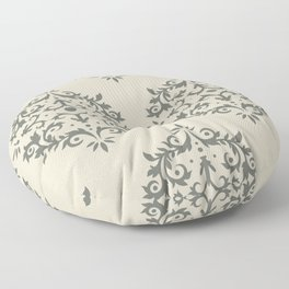 Moody Green Buff Tan Damask Scroll Pattern 2021 Color of the Year Contemplative Bleached Pebble Floor Pillow