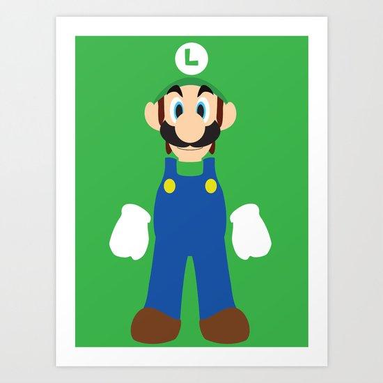 Luigi - Minimalist - Nintendo Art Print
