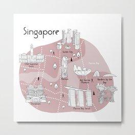 Mapping Singapore - Pink Metal Print