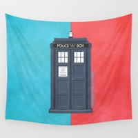 doctor who Wall Tapestries featuring 10th Doctor - DOCTOR WHO by LindseyCowley