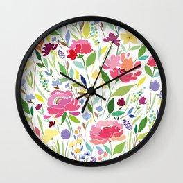 Rock in Flowers Wall Clock