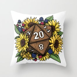 Sunflower D20 Tabletop RPG Gaming Dice Throw Pillow