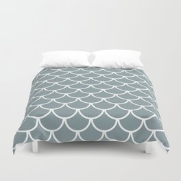 Neutral Blue Fish Scales Pattern Duvet Cover