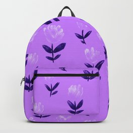 Hand Drawn Flowers on Lilac Floral Pattern Backpack
