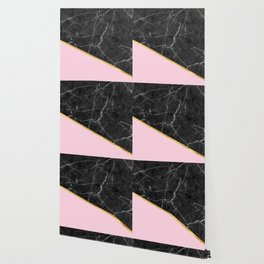 Black marble geometric gold leaf with pink Wallpaper