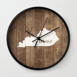 Kentucky is Home - White on Wood Wall Clock