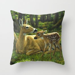 Whitetail Deer and Cute Spring Fawn Throw Pillow