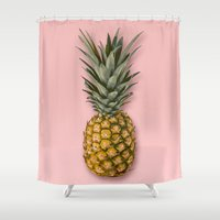 pineapple Shower Curtains featuring Pineapple by Marta Li