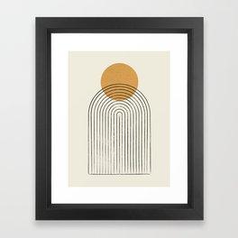 Gold Sun rainbow mountain Framed Art Print