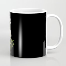 Helleborus Niger Mary Delany Delicate Paper Flower Collage Black Background Floral Botanical Coffee Mug