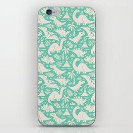 Delightful Dinos (teal) iPhone Skin