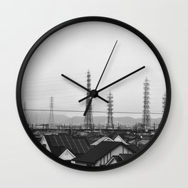 Electricity Pylons. Japan. Black and White. Urban Travel Print - Photography Wall Art. Wall Clock