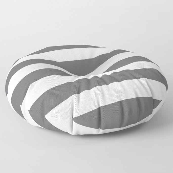 Simply Striped in Storm Gray and White Floor Pillow