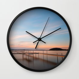 Saratoga Lake Sunset Wall Clock