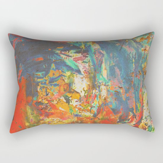 Blue and Red Wall Rectangular Pillow