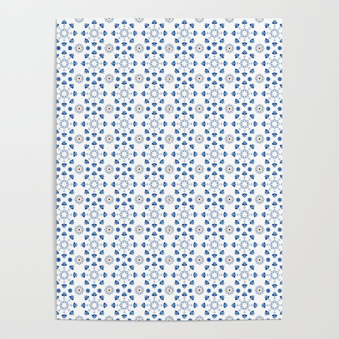 Bathroom Tile Decal Spanish Tiles Blue White Moroccan Tiles Cottage Chic Portuguese Tiles Poster By Lubo