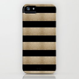 preppy contemporary minimalist great gatsby champagne black gold stripes iPhone Case