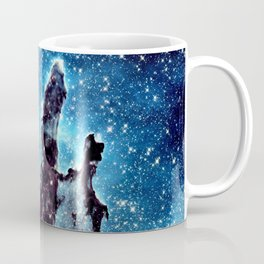 Pillars of Creation Nebula: Ocean Blue Galaxy Coffee Mug
