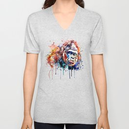 Gorilla Watercolor portrait Unisex V-Neck
